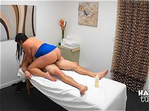 Hidden camera massage bed lovemaking