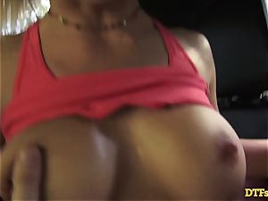 James Deen takes cougar Cherie Deville for a ride on his man-meat in the car