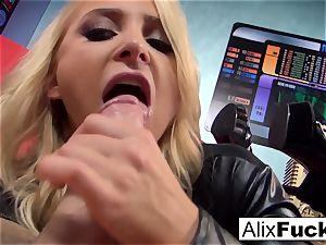 blond honey Alix Lynx sucks off the camera guy