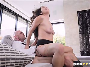 Deep in the shaggy vagina of black-haired Karlee Grey