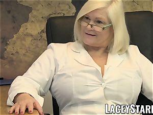 LACEYSTARR - GILF slurps Pascal white jism after lovemaking
