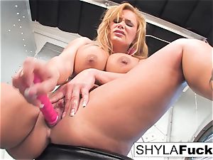 Shyla gives you a jaw-dropping disrobe and solo