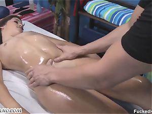 jummy schoolgirl gets her slit greased deep massage