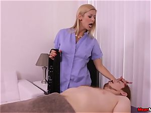 blond cougar throbbing beef whistle Having Some excruciating climax