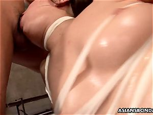 japanese redhead is bandaged and group-fucked