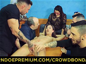 CROWD restrain bondage - brunette gimp nymph fetish public orgy