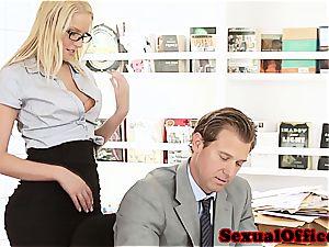 cutie secretary takes her chief' pecker for a rail