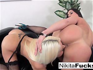 Nikita Von James and Kendra enthusiasm lick each other