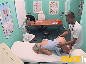 faux hospital quick pulverizing gives platinum-blonde ginormous baps brit