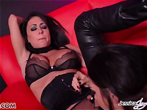 Jessica Jaymes plowed by Alison Tyler using a strap on dildo