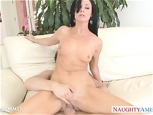 dark-haired India Summer gets slit humped