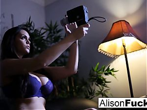 Alison gets out of her purple underwear