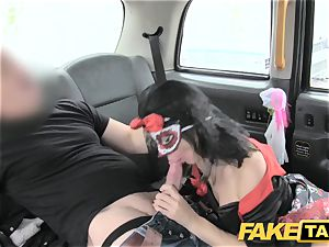 faux cab damsel in mask gets poked in the rump