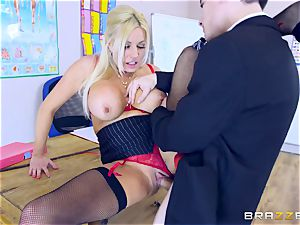 young dude in school uniforms pokes his big-boobed educator Michelle Thorne