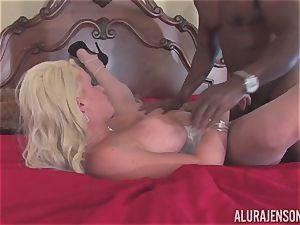 Alura Jenson gets her pretty facehole crammed with stiff ebony pink cigar