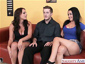 handsome Katrina Jade and Kayla West sharing a jizz-shotgun