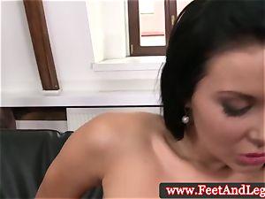 Victoria Blaze has soles splattered with spunk