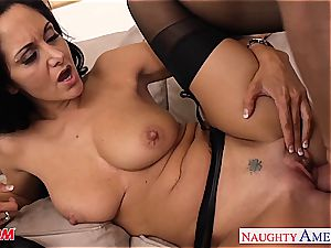 dark-haired mommy in stocking Ava Addams riding shaft