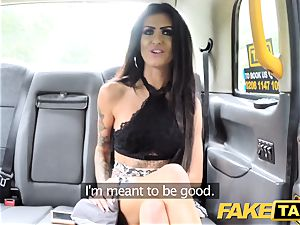 fake taxi cuckold brown-haired takes giant hard-on in rump