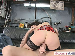big-boobed black-haired Jayden Jaymes inhale a large pipe