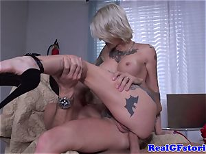 Tattood real ash-blonde cougar banged in booty