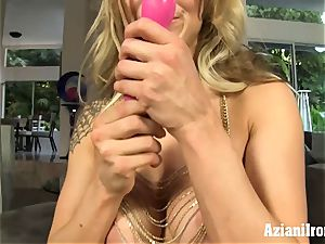 ash-blonde sweetheart fuck sticks her humid vagina and jizzes firm