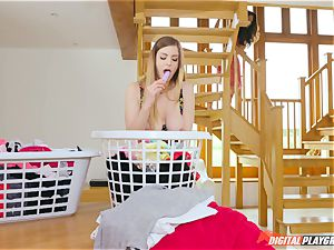 beaver rubbing uber-cute Eva Lovia and Stella Cox messing in the laundry