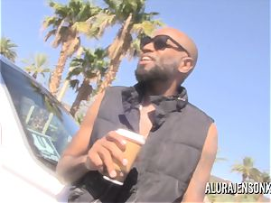 immense tit cougar Alura Jenson plows her dark-hued Boober driver