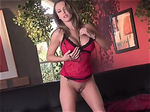 Jenna Presley takes it off slowly to demonstrate off her fat boobies and smoking assets